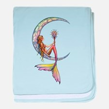 Mermaid Moon Fantasy Art baby blanket