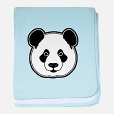 panda head white black baby blanket