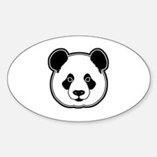panda head white black Sticker (Oval)