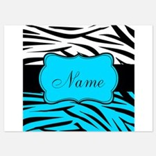 Personalizable Teal and Black Zebra Invitations