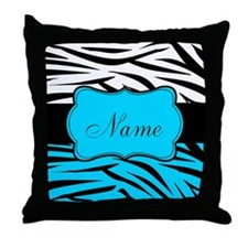 Personalizable Teal and Black Zebra Throw Pillow