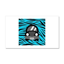 Black Car Teal Zebra Stripes Car Magnet 20 x 12