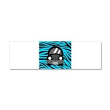 Black Car Teal Zebra Stripes Car Magnet 10 x 3