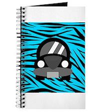 Black Car Teal Zebra Stripes Journal
