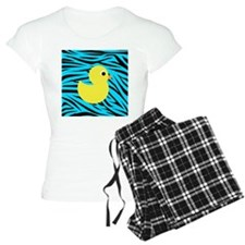 Yellow Duck on Teal Zebra Stripes Pajamas