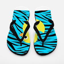 Yellow Duck on Teal Zebra Stripes Flip Flops
