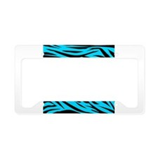 Yellow Duck on Teal Zebra Stripes License Plate Ho