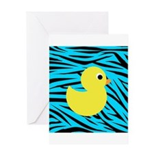 Yellow Duck on Teal Zebra Stripes Greeting Cards