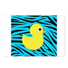 Yellow Duck on Teal Zebra Stripes Postcards (Packa