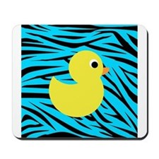 Yellow Duck on Teal Zebra Stripes Mousepad