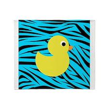 Yellow Duck on Teal Zebra Stripes Throw Blanket