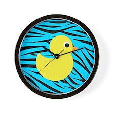 Yellow Duck on Teal Zebra Stripes Wall Clock