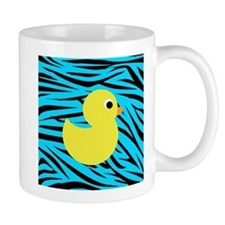 Yellow Duck on Teal Zebra Stripes Mugs