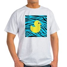 Yellow Duck on Teal Zebra Stripes T-Shirt