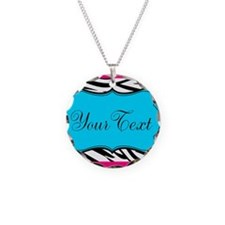 Personalizable Teal Hot Pink Zebra Necklace