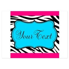 Personalizable Teal Hot Pink Zebra Invitations