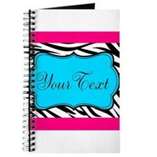 Personalizable Teal Hot Pink Zebra Journal