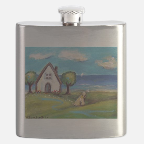Soft Coated Wheaten Terrier Summer Cottage Flask