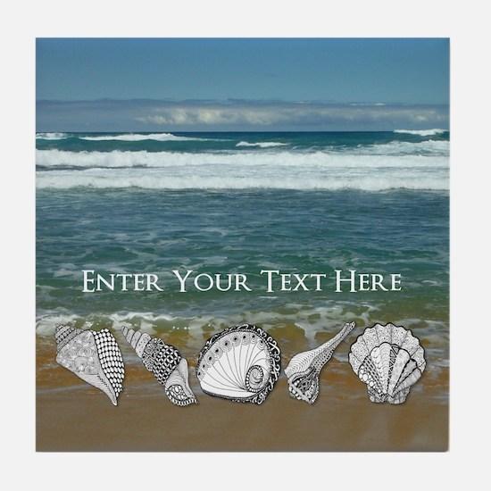 Original Seashell Customizable Art Tile Coaster
