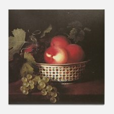 Still Life of Peaches and Grapes Tile Coaster