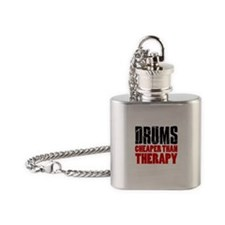 Drums Cheaper Than Therapy Flask Necklace