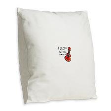 Uke an' be happy! Burlap Throw Pillow