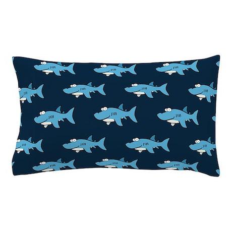 Blue Cartoon Shark Pattern Pillow Case