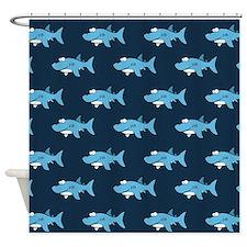 Blue Cartoon Shark Pattern Shower Curtain
