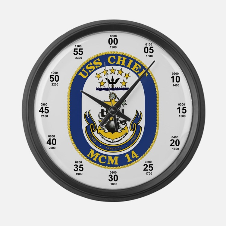 USS Chief MCM-14 Large Wall Clock