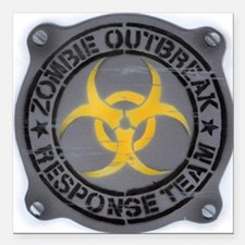 "Zombie Outbreak Response Square Car Magnet 3"" x 3"""