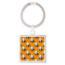 Cute Panda; Neon Orange, Black White Keychains