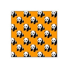Cute Panda; Neon Orange, Black White Sticker