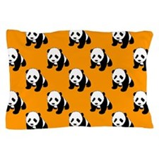 Cute Panda; Neon Orange, Black White Pillow Case