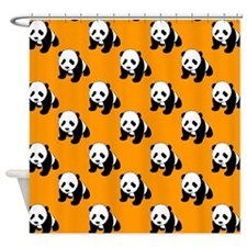 Cute Panda; Neon Orange, Black White Shower Curtai