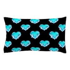 Blue Flaming Hearts, Blue Flames Pillow Case