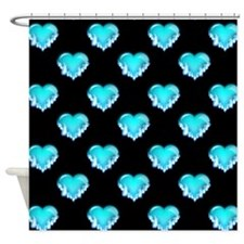 Blue Flaming Hearts, Blue Flames Shower Curtain