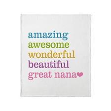 Great Nana - Amazing Awesome Throw Blanket