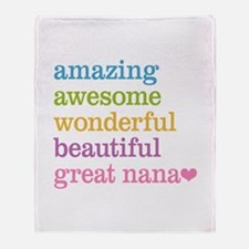 Great Nana - Amazing Awesome Throw Blanket