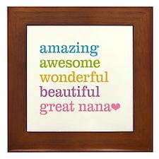 Great Nana - Amazing Awesome Framed Tile
