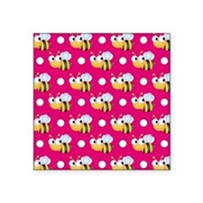 Cute Bee, Hot Pink White Polka Dots Sticker
