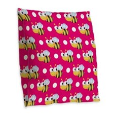 Cute Bee, Hot Pink White Polka Dots Burlap Throw P