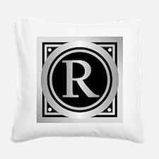 Deco Monogram R Square Canvas Pillow