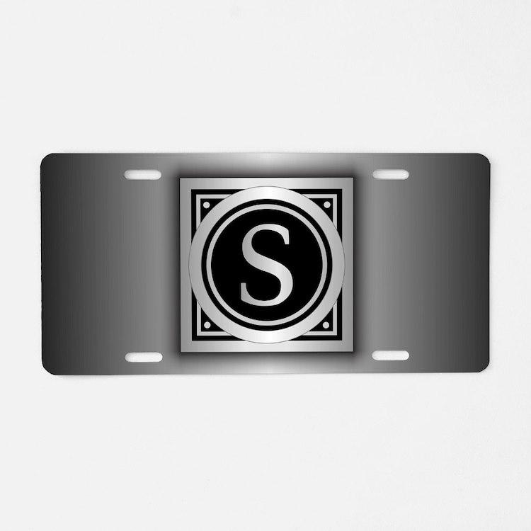 Deco Monogram S Aluminum License Plate