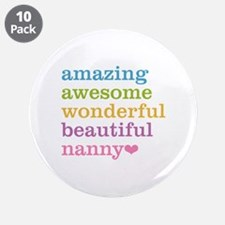 """Nanny - Amazing Awesome 3.5"""" Button (10 pack)"""