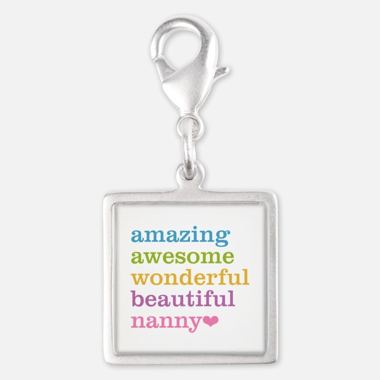 Nanny - Amazing Awesome Silver Square Charm