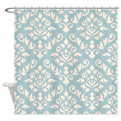 Baroque Damask Design Cream On Blue Shower Curtain By PaskellDamaskDesigns
