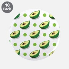"Green White Avacado, Polka Dot Pattern 3.5"" Button"