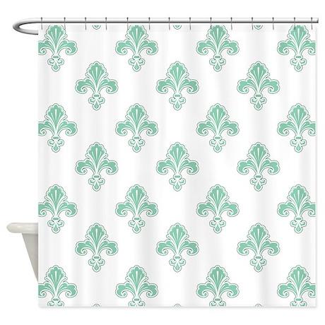 Fleur de lis seafoam green white shower curtain by clipartmegamart - Fleur de lis shower curtain ...
