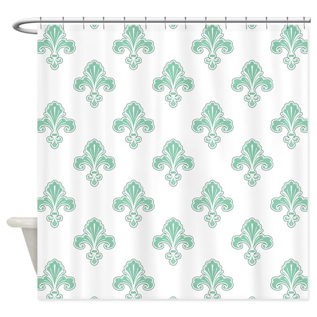 fleur de lis seafoam green white shower curtain by