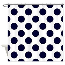 Navy Blue Polkadots Shower Curtain